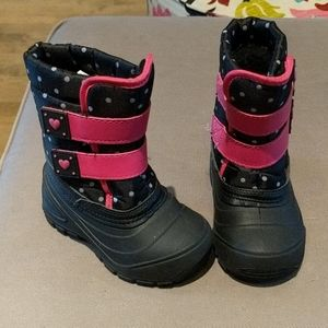 Black and Pink Polka Dot with Heart Snow Boots